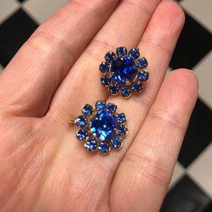 Vintage Screw Back Blue Stone Earrings